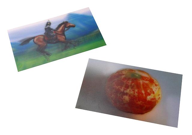 みかんと馬が描かれたレンチキュラ―