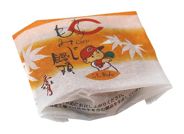 カープデザインのもみじ饅頭の画像