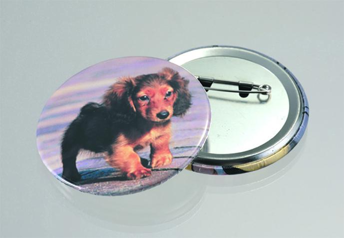 犬の写真入り缶バッジ