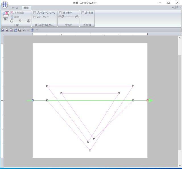 ⑥この様に三角形にグルグルとポイントを打ち、線を引っ張りながら描きます。