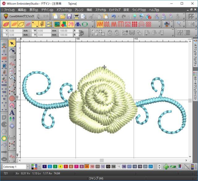 7、刺繍ソフトで薔薇の刺繍データをつくりました。