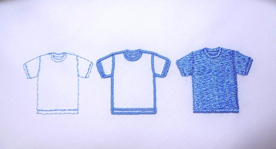 走り縫い、サテン縫い、タタミ縫い。