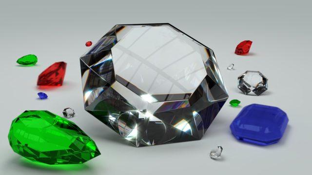 様々な宝石が並ぶ様子