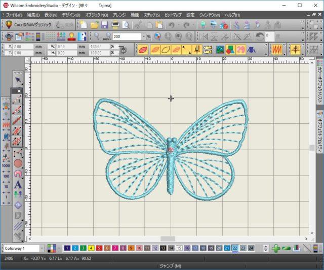 1、Wilcom EmbroideryStudio 刺繍ソフトで蝶々のデータ制作。