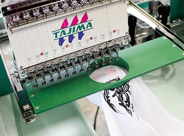 刺繍機に枠をセットして刺繍する様子